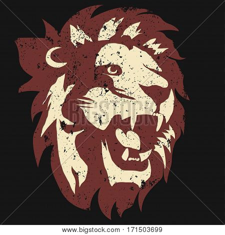 Lion logo. Grunge Mascot head, wild animal portrait emblem, predator face silhouette, Hand drawn cat emblem, vintage sport t-shirt design. Vector