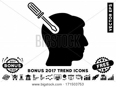 Black Head Surgery Screwdriver pictograph with bonus 2017 year trend symbols. Vector illustration style is flat iconic symbols white background.