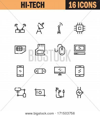 Hi-tech flat icon set. Collection of high quality outline symbols for web design, mobile app. Hi-tech vector thin line icons or logo.