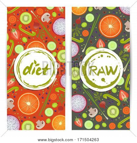 Healthy diet vertical flyers set vector illustration. Natural fruits and vegetables colorful background. Vegetarian organic raw food, healthy lifestyle, best quality, bio and eco nutrition concept