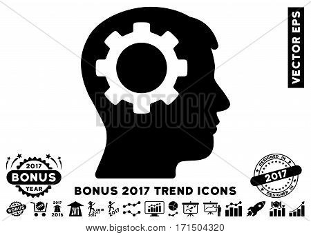 Black Intellect Gear pictogram with bonus 2017 trend pictures. Vector illustration style is flat iconic symbols white background.