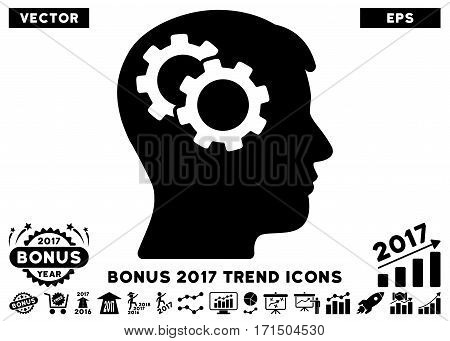 Black Intellect Gears pictogram with bonus 2017 trend pictograph collection. Vector illustration style is flat iconic symbols white background.