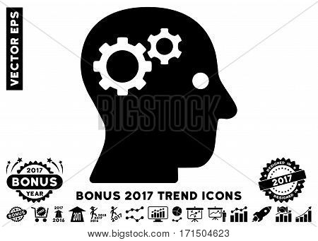 Black Intellect Gears pictograph with bonus 2017 year trend icon set. Vector illustration style is flat iconic symbols white background.