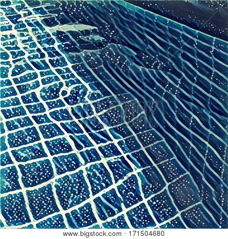 Swimming pool digital illustration: clear water and square blue tiles. Hotel rooftop relaxation zone with empty waterpool with ripped water. Summer vacation leisure.