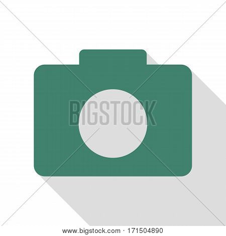 Digital camera sign. Veridian icon with flat style shadow path.