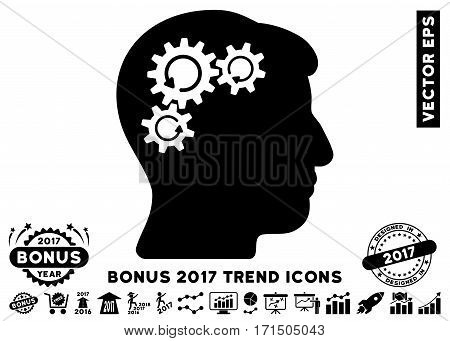 Black Mind Gear Rotation pictogram with bonus 2017 trend design elements. Vector illustration style is flat iconic symbols white background.