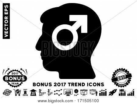 Black Mind Potency icon with bonus 2017 trend symbols. Vector illustration style is flat iconic symbols white background.