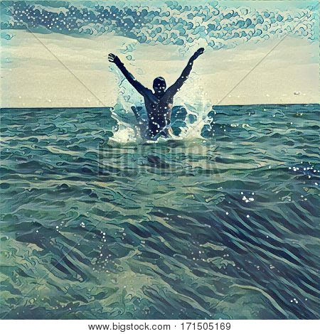 Jump out of the sea water. Etching style digital illustration with ocean horizon and sky. Summer vacation joy and happiness emotion. Holiday fun by the seaside. Safety on the water during holiday