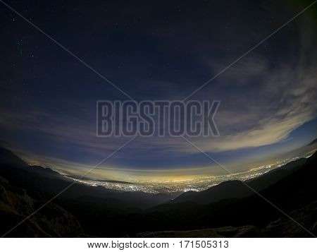 Night Aerial View Of Rancho Cucamonga Area