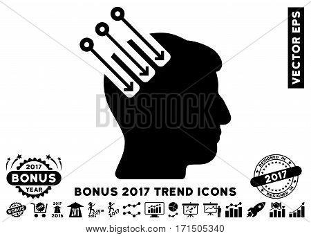 Black Neuro Interface pictograph with bonus 2017 trend icon set. Vector illustration style is flat iconic symbols white background.