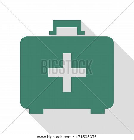 Medical First aid box sign. Veridian icon with flat style shadow path.