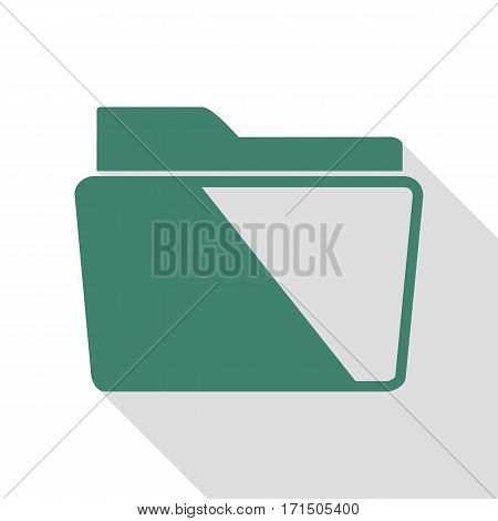 Folder sign illustration. Veridian icon with flat style shadow path.