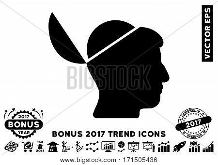 Black Open Brain icon with bonus 2017 year trend design elements. Vector illustration style is flat iconic symbols white background.