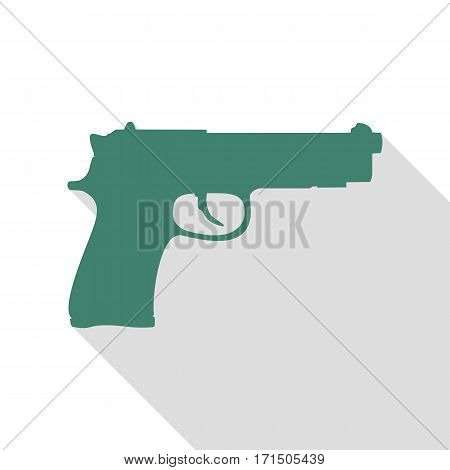 Gun sign illustration. Veridian icon with flat style shadow path.