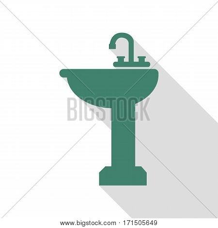 Bathroom sink sign. Veridian icon with flat style shadow path.