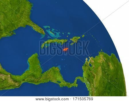 Map Of Jamaica In Red