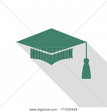 Mortar Board or Graduation Cap, Education symbol. Veridian icon with flat style shadow path.