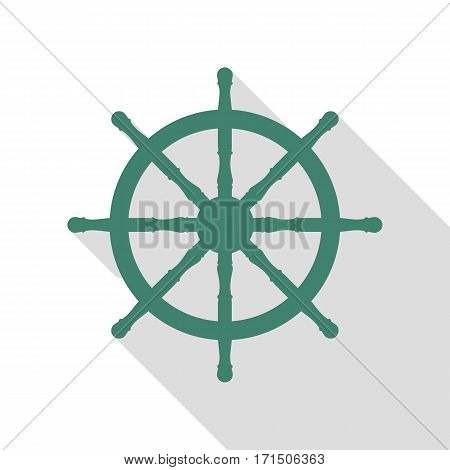 Ship wheel sign. Veridian icon with flat style shadow path.