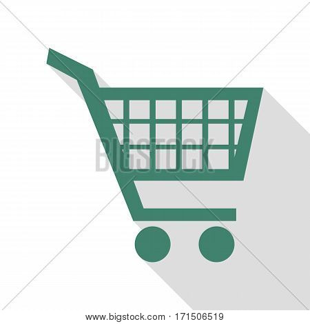 Shopping cart sign. Veridian icon with flat style shadow path.