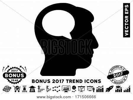 Black Person Thinking pictogram with bonus 2017 trend symbols. Vector illustration style is flat iconic symbols white background.