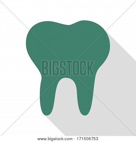 Tooth sign illustration. Veridian icon with flat style shadow path.