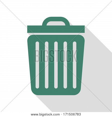 Trash sign illustration. Veridian icon with flat style shadow path.