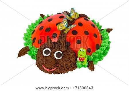 Cake in the form of a Ladybug isolated on white background