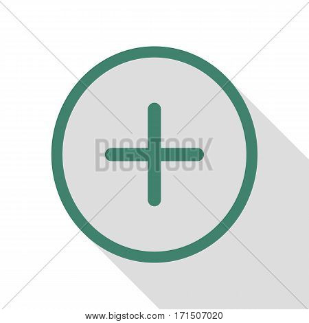 Positive symbol plus sign. Veridian icon with flat style shadow path.
