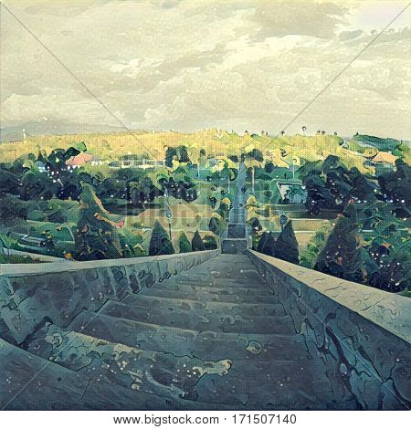 High stair in tropic park with top view landscape. Cloudy sky and forest land. Autumn colored tree crowns. Concrete steps going down. Outdoor travel in Asia. Digital illustration in painting style
