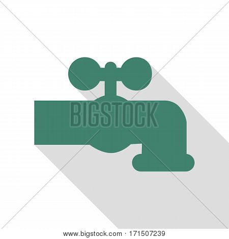 Water faucet sign illustration. Veridian icon with flat style shadow path.