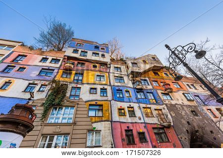 Hundertwasser house in Vienna Austria - modern architecture background