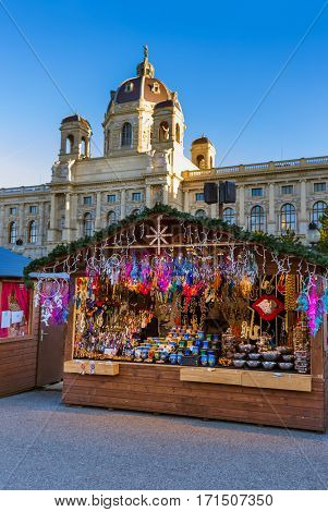 Christmas Market near Museum quarter in Vienna Austria - cityscape holiday background