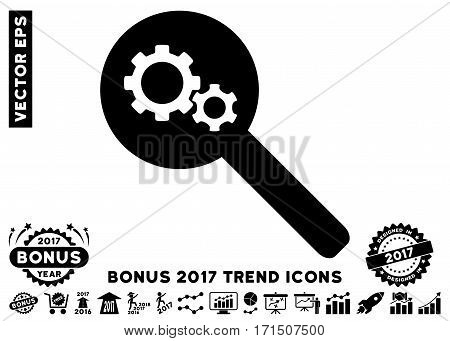 Black Search Gears Tool icon with bonus 2017 year trend symbols. Vector illustration style is flat iconic symbols white background.