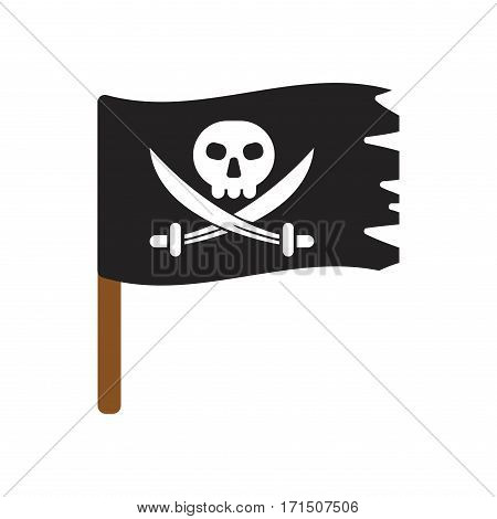 Jolly roger vector flag cartoon, horror dead scary wind symbol. Black evil death danger pirate warning sign. Retro torn traditional treasure dark design.