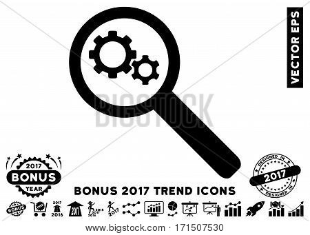 Black Search Gears Tool pictograph with bonus 2017 year trend images. Vector illustration style is flat iconic symbols white background.