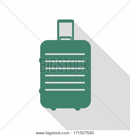 Baggage sign illustration. Veridian icon with flat style shadow path.