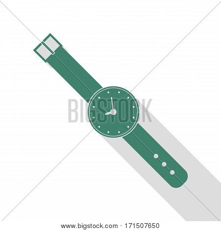 Watch sign illustration. Veridian icon with flat style shadow path.
