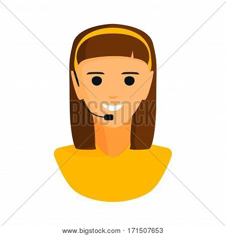 Dispatcher young smiling woman talking on headphone headset office graphics and business support people professional communication job operator service vector illustration. Worker center speak girl.