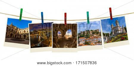 Portugal travel images (my photos) on clothespins isolated on white background