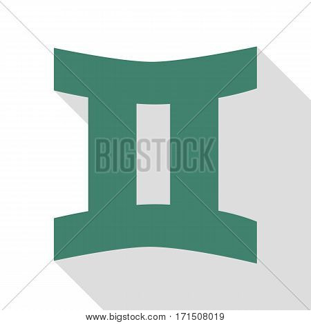 Gemini sign. Veridian icon with flat style shadow path.