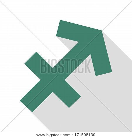 Sagittarius sign illustration. Veridian icon with flat style shadow path.