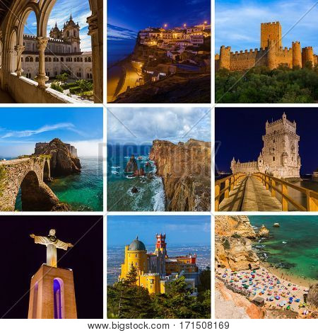 Collage of Portugal travel images (my photos) - nature and architecture background