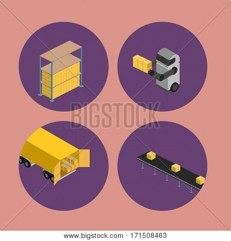 Warehouse logistics isometric icons isolated vector illustration. Freight truck, boxes on shelves, delivery conveyor, warehouse robot round icons. Freight automatic delivery, logistics technology
