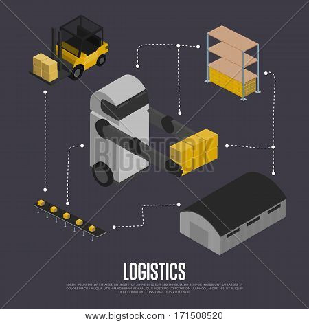 Shipment logistics isometric flowchart vector illustration. Automated warehouse with forklift truck and working robot. Freight automatic delivery, cargo transportation, modern logistics technology