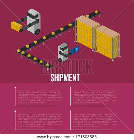 Cargo shipment isometric vector illustration. Automated warehouse interior with working robots. Freight automatic delivery, cargo transportation, warehouse logistics technology, freight shipment