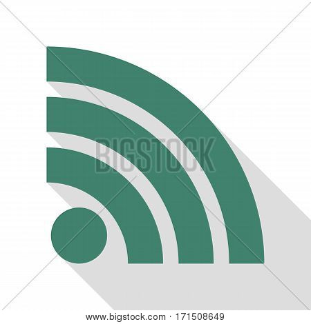 RSS sign illustration. Veridian icon with flat style shadow path.