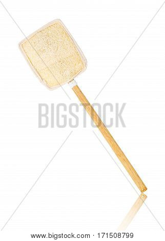 Wooden loofah or loofah brush for scrub body isolated on white background Saved clipping path.