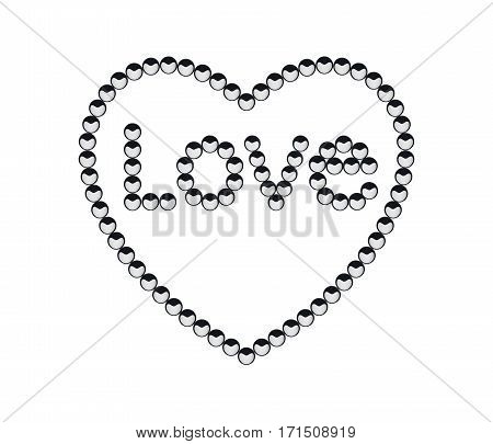 Love in a puff plant seeds with heart curve on seed arranged in love letter in heart border