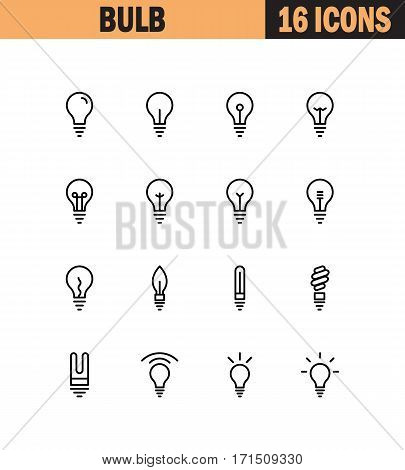Light bulb flat icon set. Collection of high quality outline symbols for web design, mobile app. Light bulb vector thin line icons or logo.