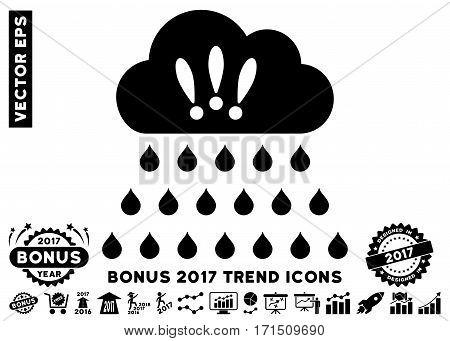 Black Thunderstorm Rain Cloud pictogram with bonus 2017 year trend symbols. Vector illustration style is flat iconic symbols white background.